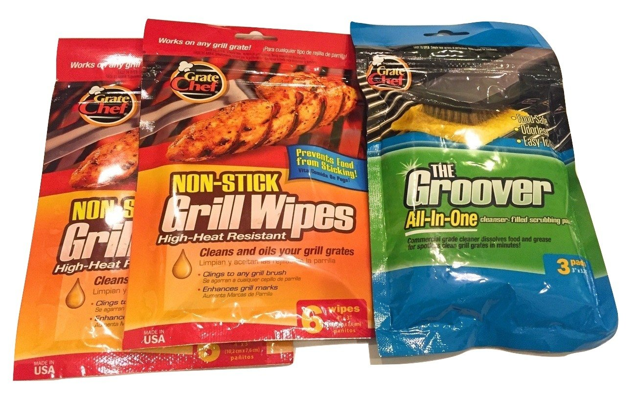 Grate Chef Grill Wipes (2-Pack) and Groover Cleaner (3-item Bundle)