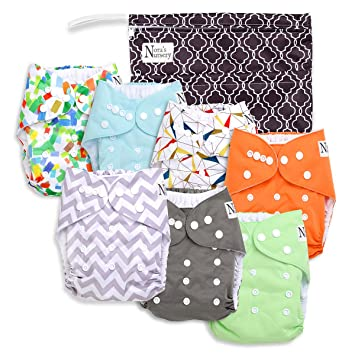Baby Cloth Pocket Diapers 7 Pack 7 Bamboo Inserts 1 Wet Bag by Noras Nursery