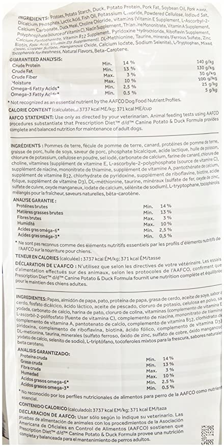 Hills Prescription Diet d/d Potato & Duck 8lbs, Skin Support & Irritation Dog Food