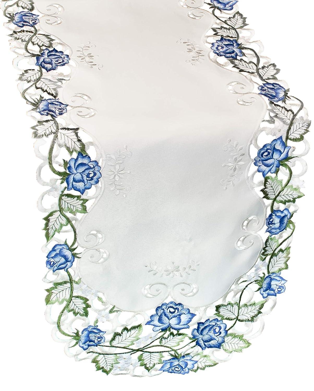 リネン、アートとシングス テーブルランナー アイボリー生地に明るいブルーのビクトリア朝のバラの刺繍入り サイズ15 x 53インチ、ドレッサースカーフ、コーヒーテーブルランナー   B07N959ZN8