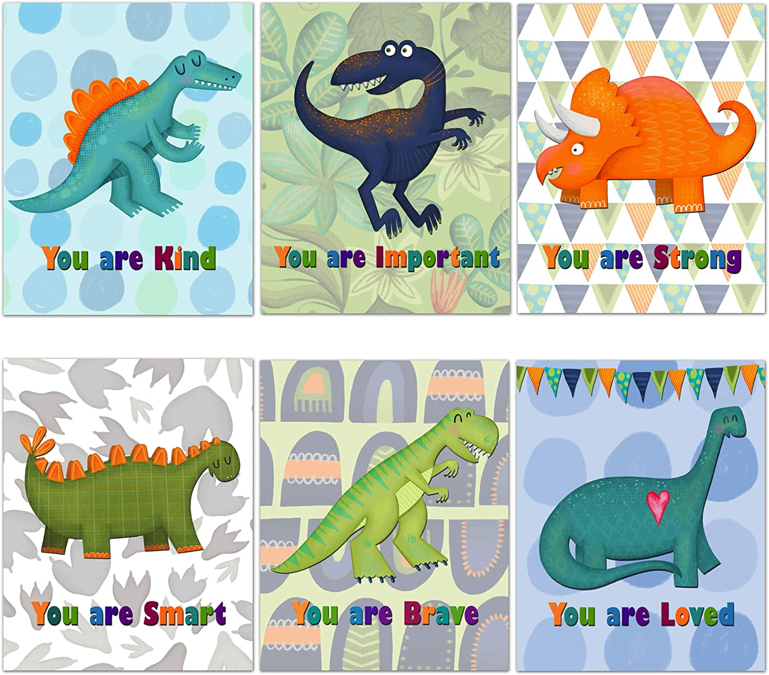 Dinosaur Motivational Wall Art Wall Decor Posters For Boys Room (6) 8x10 Unframed Photo Prints For Kids Made In USA Dinosaur Room Decor For Boys Nursery Wall Decor Nursery Decor For A Boy