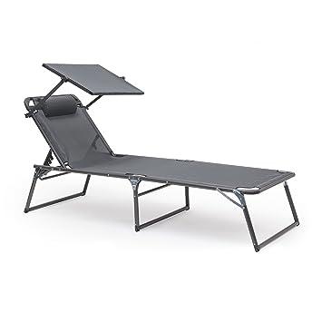 Relaxdays - Tumbona con parasol:Sillón de jardín de 37 x 70 x 200 cm con parasol de bloqueo, marco de aluminio y funda de poliéster, silla plegable ...