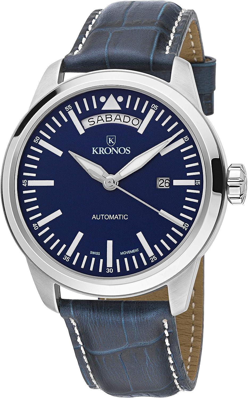 KRONOS - Pilot Automatic Day Date Blue K006.65 - Reloj de Caballero automático, Correa de Piel Azul, Color Esfera: Azul …