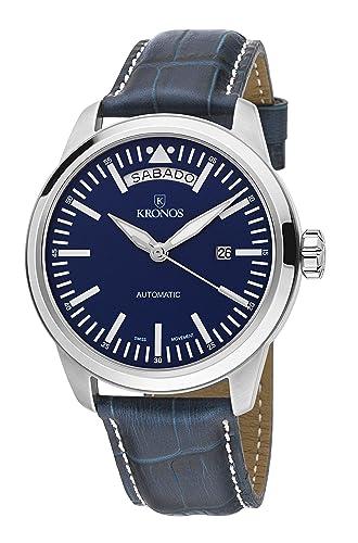 KRONOS - Pilot Automatic Day Date Blue K006.65 - Reloj de Caballero automático, Correa de Piel Azul, Color Esfera: Azul ...: Amazon.es: Relojes