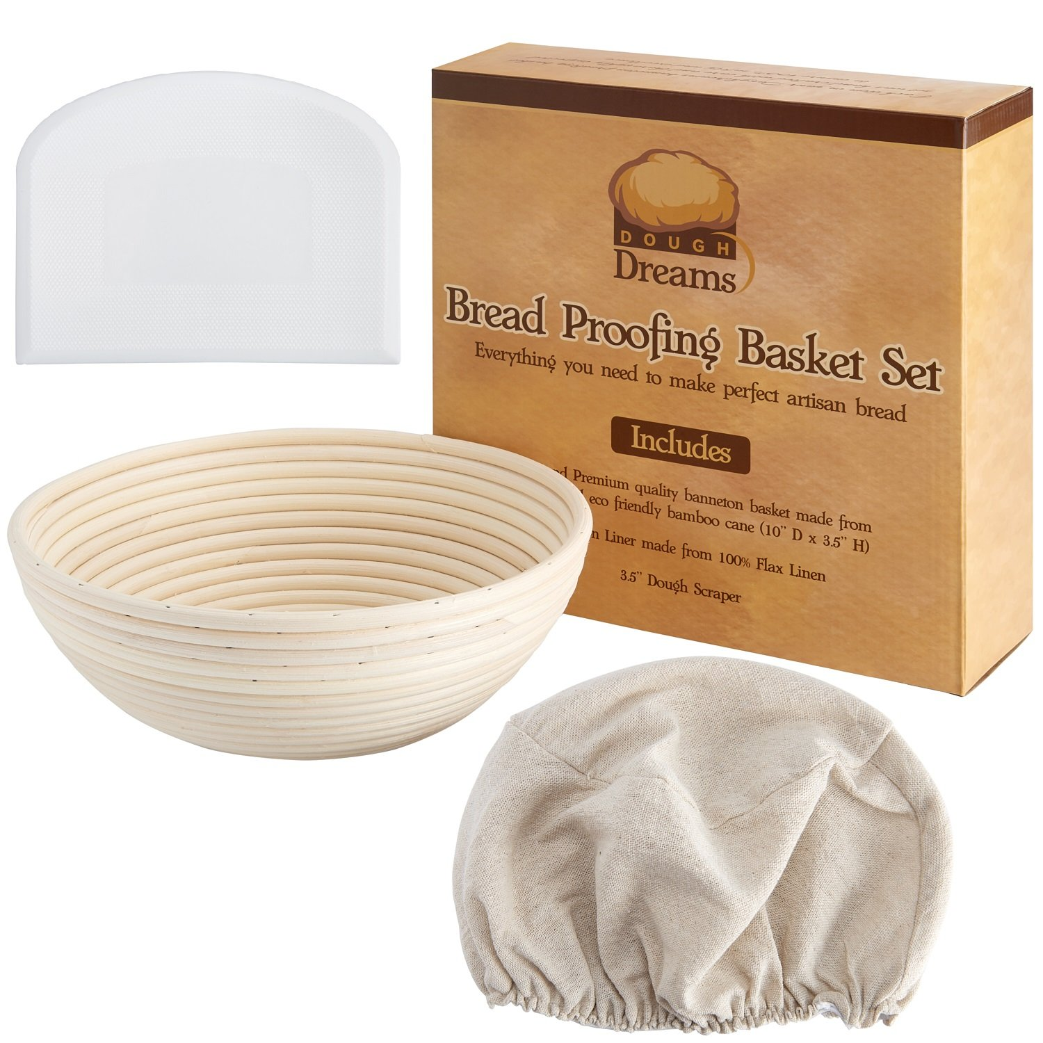 Bread Proofing Basket 10 Inch Set | Large Rattan Banneton w/ Dough Scraper, Linen Liner and Helpful Instructions | Perfect for New Bakers | For Artisan Boule Sourdough Bread Making