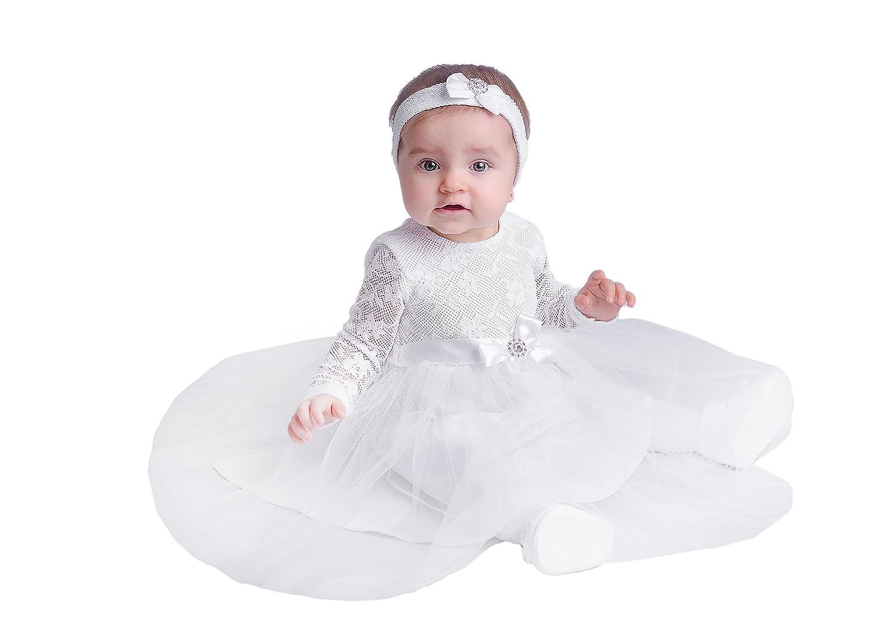 Generic Baby Mädchen (0-24 Monate) A-Linie Taufbekleidung Weiß weiß