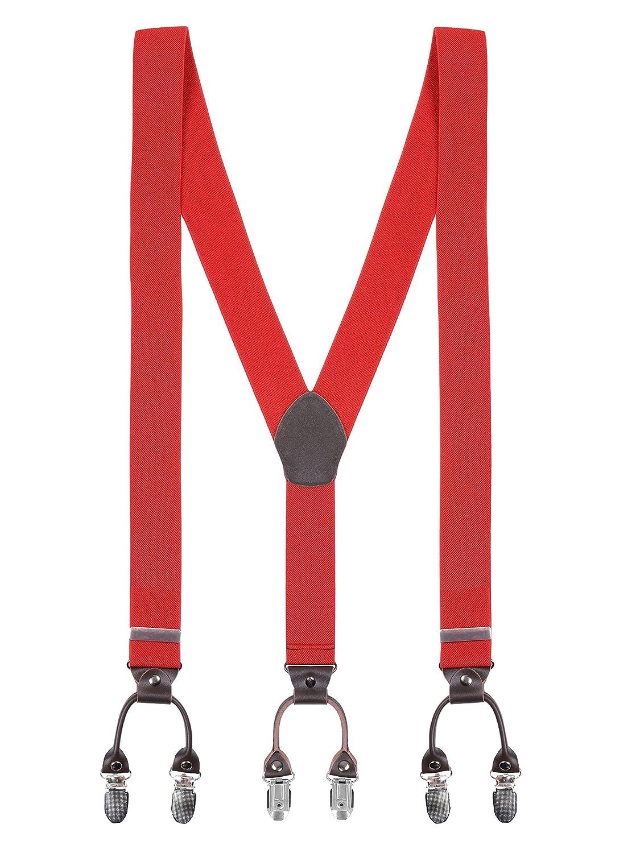 Y Forme 6 Pinces Bretelles pour Hommes Longueur Réglable Extra Élastique Fort - 3.5*110cm