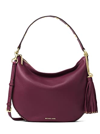 Michael Kors Brooklyn Large Convertible Leather Hobo in Plum