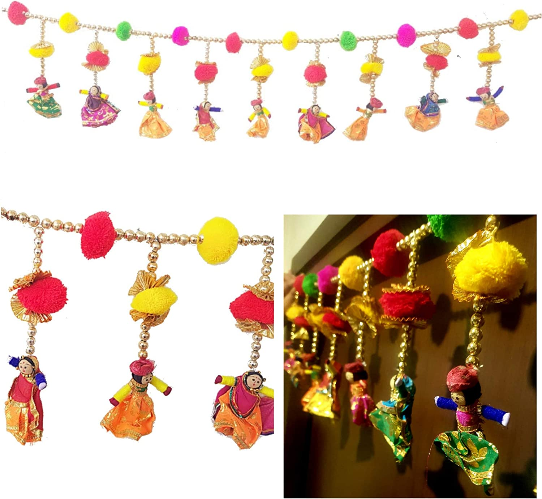 DECORATIVE BUCKETS Bandhanwar/Torans for Diwali Decorations|Handmade Door Hanging/Wall Hanging/Door Valance|Hanging Puppets |Indian Traditional Wedding Decorations|Diwali décor|pom pom