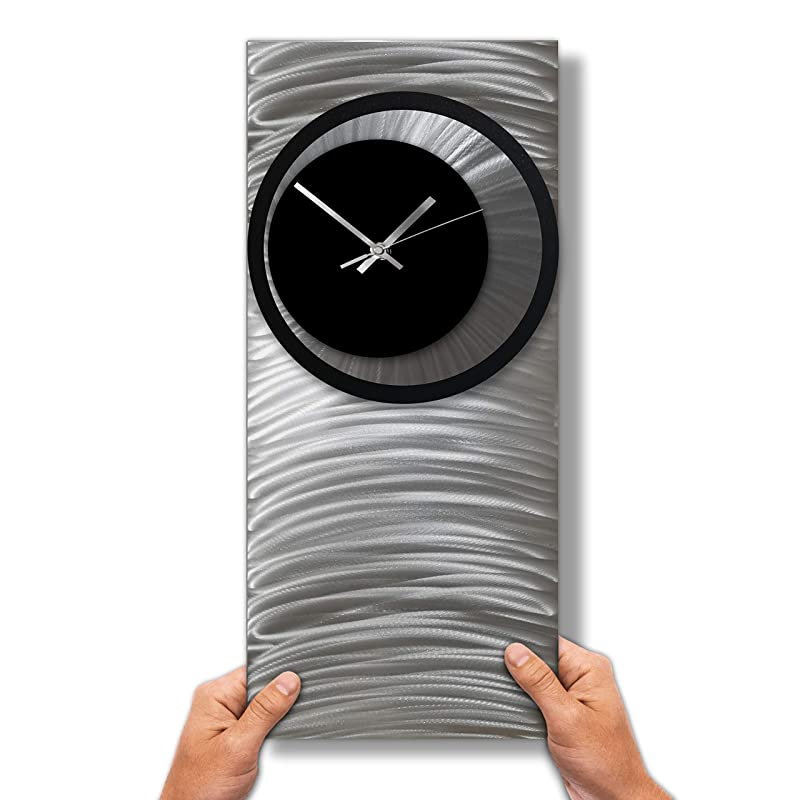 Abstract Wall Clock Large Unique Metal Silver Wall Art Modern Home Office Or Decor Contemporary Clock Amazon Co Uk Handmade