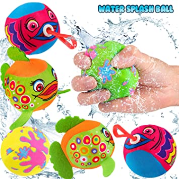 Fun Summer Gift for Children Colorful Water Splash Ball Set Summer Beach Soaking Games - 2019 Water Soaker Balls with Retractable Hook for Pool Pack of 6