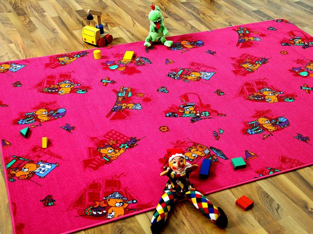 Kinder Spielteppich Bärenwelt Pink Rosa Gelb in 24 Größen