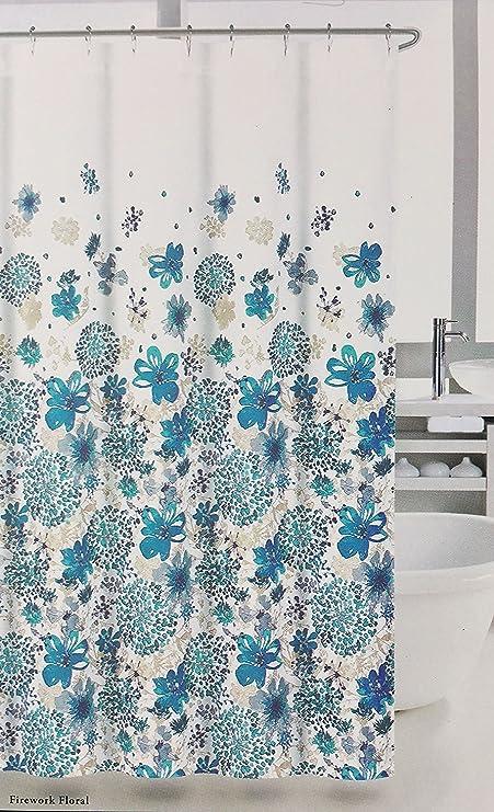 Nicole Miller Shower Curtain Firework Floral Blue Tan Amazoncouk Kitchen Home