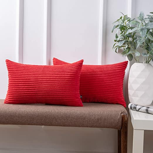 Throw Pillow Cover Striped Velvet Corduroy Square Cushion Case 20x20 inch