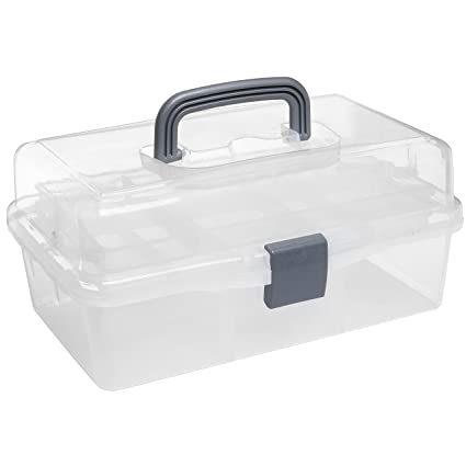 MyGift Plastic 2 Tier Trays Craft Supply Storage Box / Firstaid Carrying Case w/ Top  sc 1 st  Amazon.com & Amazon.com: MyGift Plastic 2 Tier Trays Craft Supply Storage Box ...
