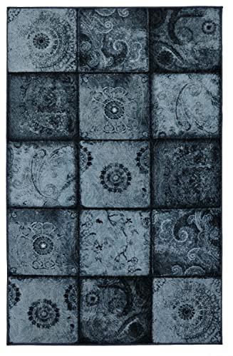 Mohawk Home Free Flow Artifact Panel Blue Patchwork Printed Area Rug, 5 x8 , Blue