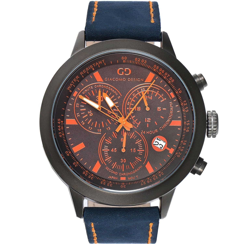 Giacomo Design GD02003 Herren-Armbanduhr Lederband Datum Chronograph