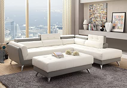 Amazon.com: 3Pcs Modern White and Light Grey Bonded Leather ...