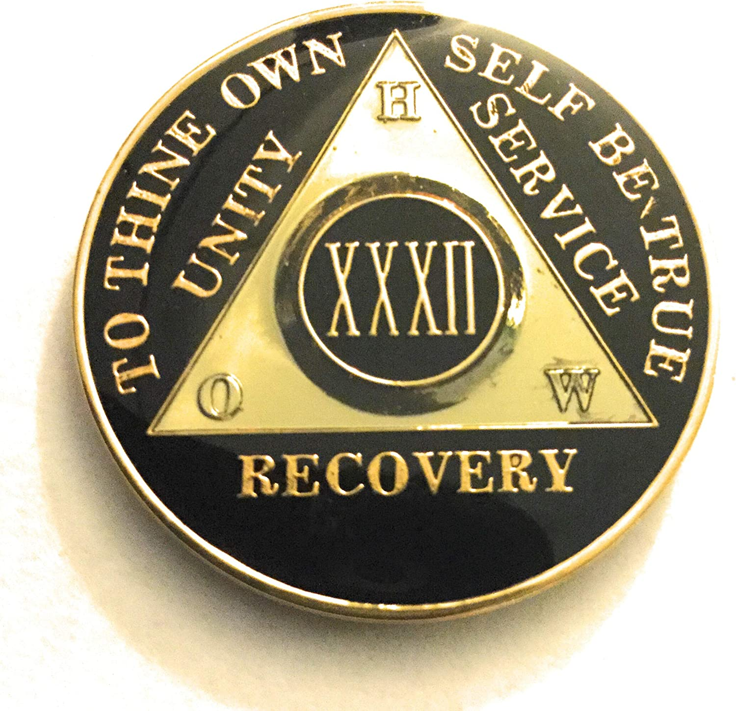AA Black Gold 32 Year Coin Tri-Plate Alcoholics Anonymous Medallion Sober Chip