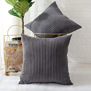 MERNETTE Pack of 2, Corduroy Soft Decorative Square Throw Pillow Cover Cushion Covers Pillowcase, Home Decor Decorations for Sofa Couch Bed Chair 16x16 Inch/40x40 cm (Striped Dark Grey)