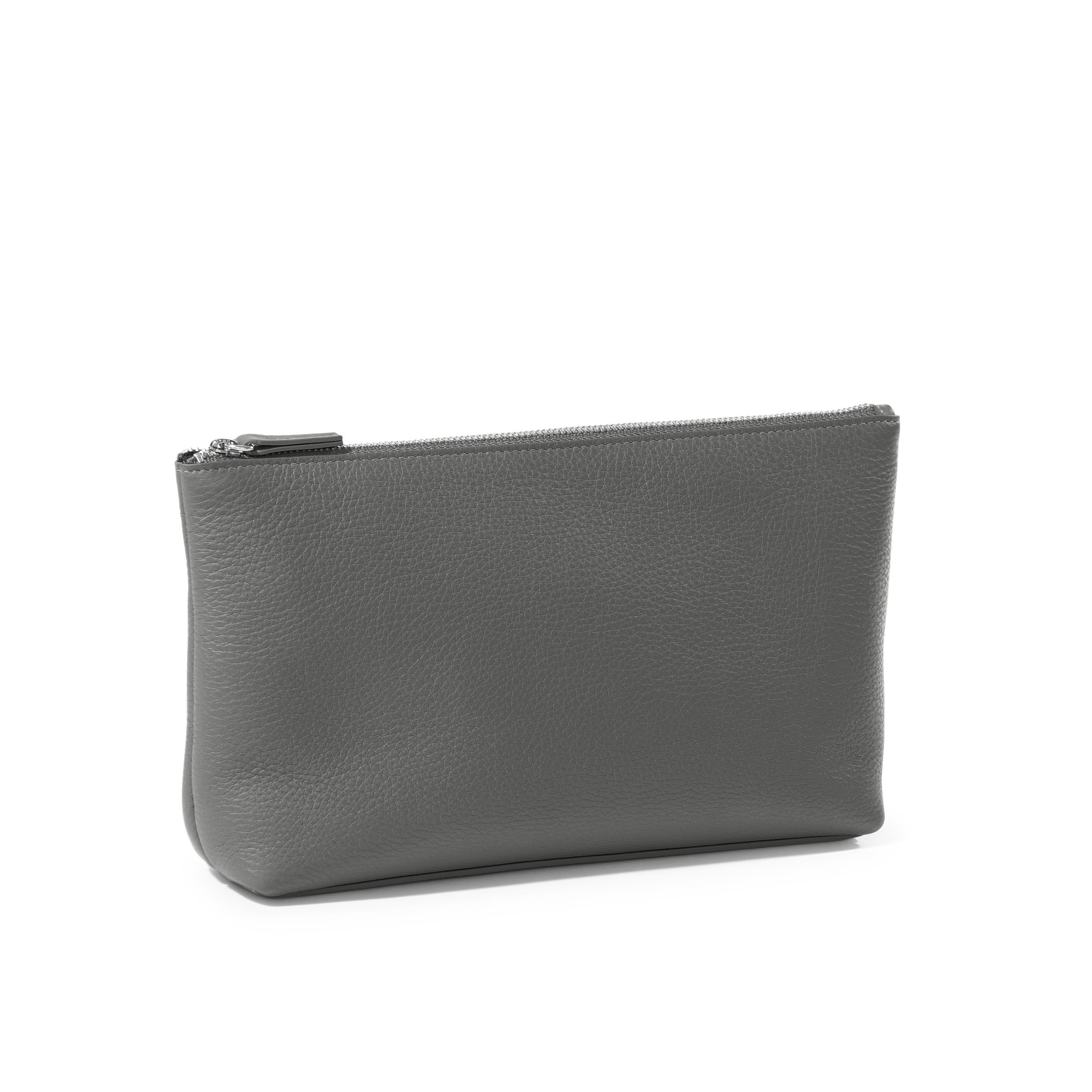 Medium Accessories Pouch - Full Grain Leather Leather - Charcoal (gray)