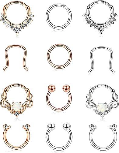 Amazon Com Finrezio 12pcs 316l Stainless Steel Septum Piercing