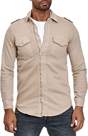 Camisa con Cremallera de Hombre Jeans Look Chaqueta de Manga Larga: Amazon.es: Ropa y accesorios