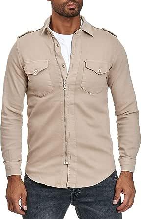 Camisa con Cremallera de Hombre Jeans Look Chaqueta de ...