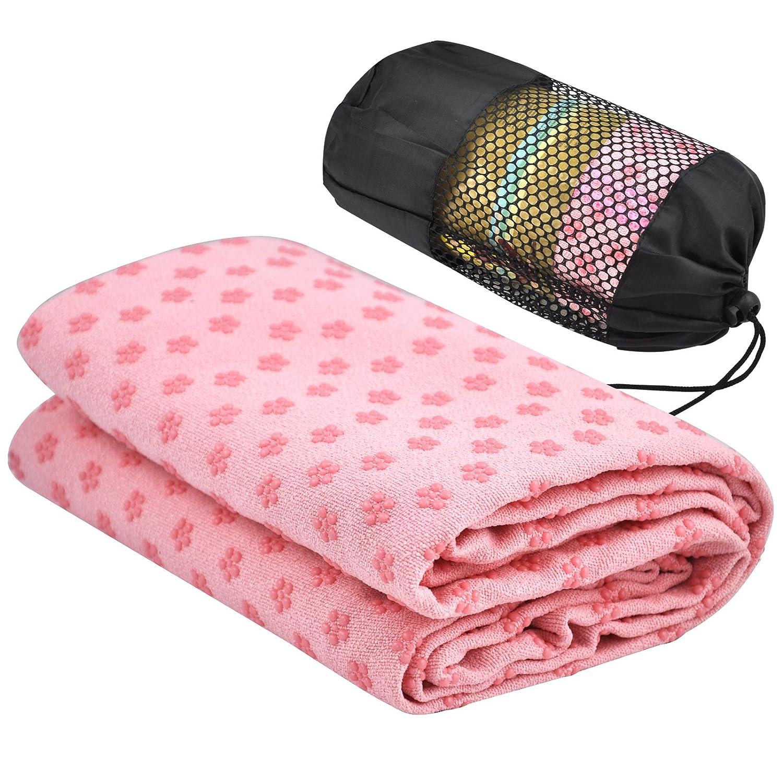 Accessotech Sport Fitness Travel Exercise Yoga Mat Cover Towel Blanket Non-Slip Pilates