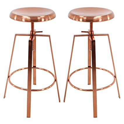 Groovy Brage Living Backless Round Seat Adjustable Height Bar Stools Set Of 2 Rose Gold Ocoug Best Dining Table And Chair Ideas Images Ocougorg