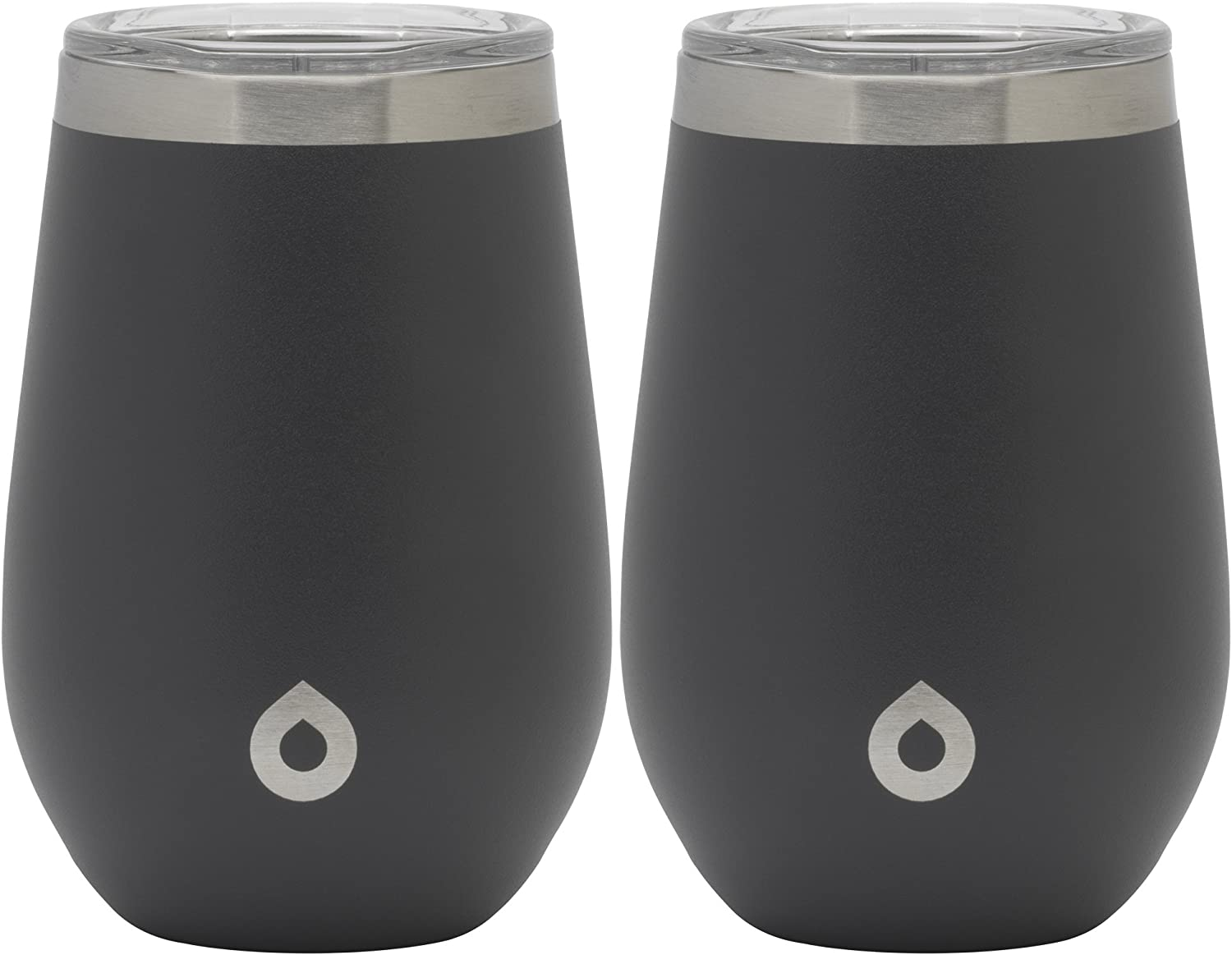 GoBottle, 12 oz stainless steel vacuum sealed double wall insulated stemless glass for wine, tea, and more, 2 pack, Midnight Gray