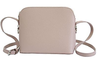 23d3ea01fb012 AMBRA Moda Italienische Ledertasche Damen Handtasche Umhängetasche  Schultertasche Leder Tasche klein GL018 (Altrosa)