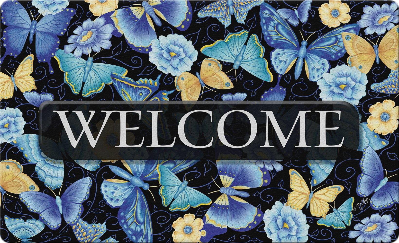 Toland Home Garden Blue Butterfly Welcome 18 x 30 Inch Decorative Flower Floor Mat Colorful Doormat