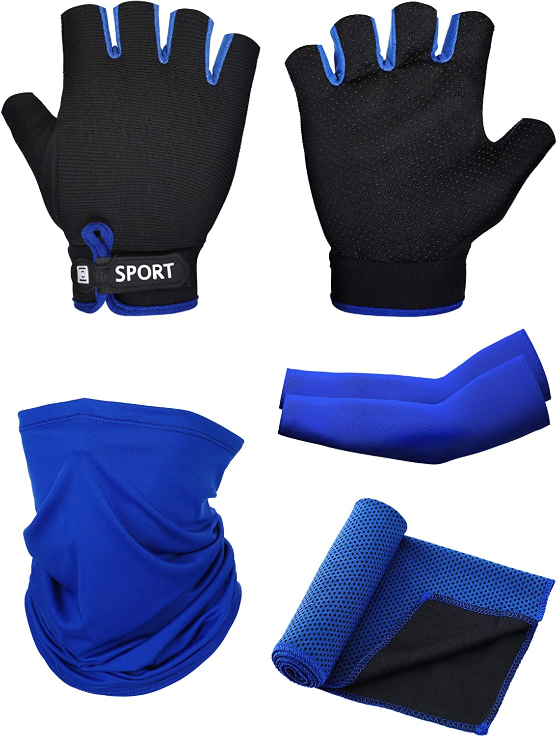 SATINIOR 4 Pack Sun Protection Kit Include Half Finger Cycling Fishing Gloves, Cooling Arm Sleeves, Cooling Sports Towel and Neck Gaiter Scarf for Fishing Climbing Outdoor Activities