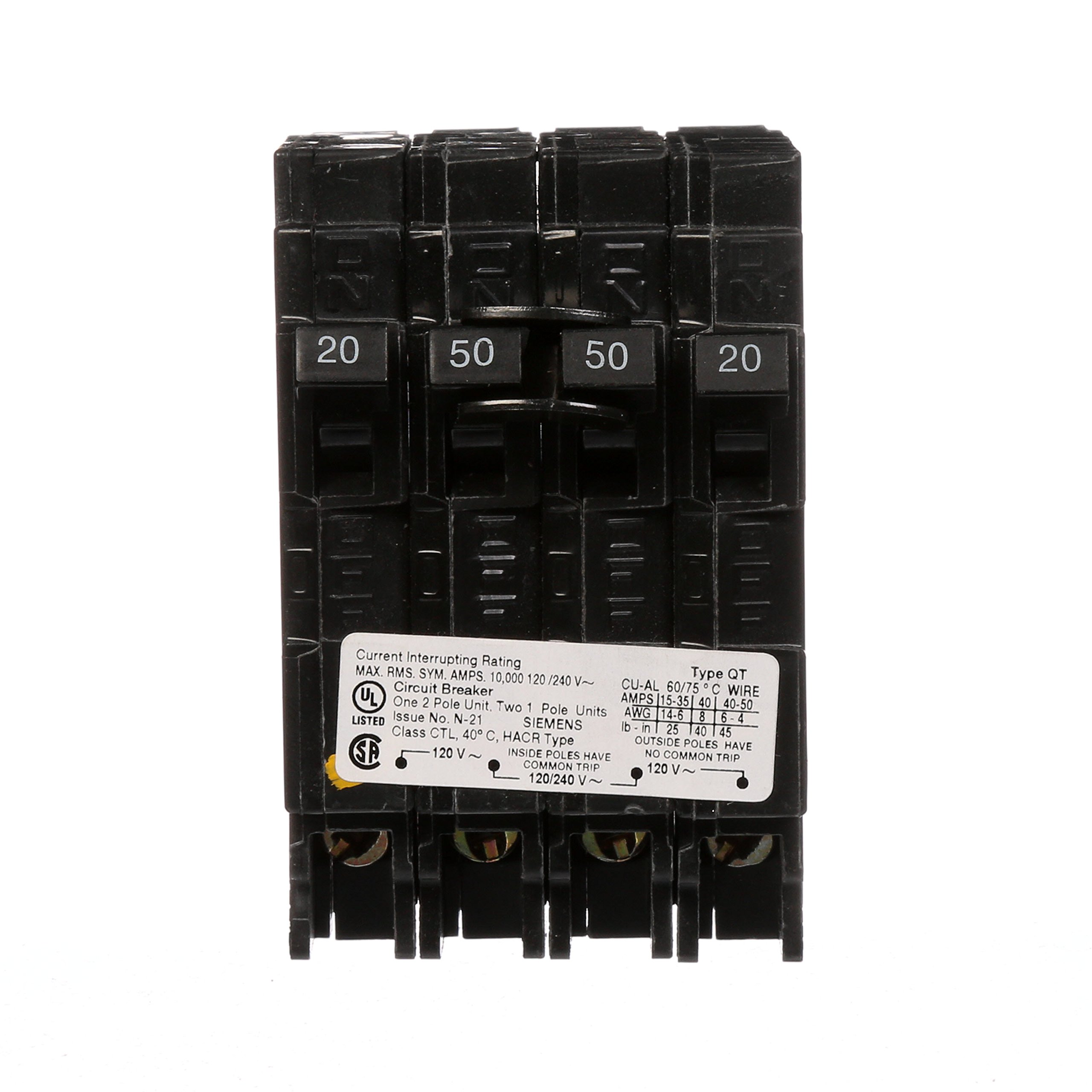 Siemens Q22050CT 50-Amp Double Pole Two 20-Amp Single Pole Circuit Breaker
