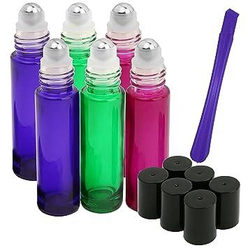 6pcs, botellas de 10 ml roller por jamhoodirect – PREMIUM CALIDAD rodillo aceite esencial recargable