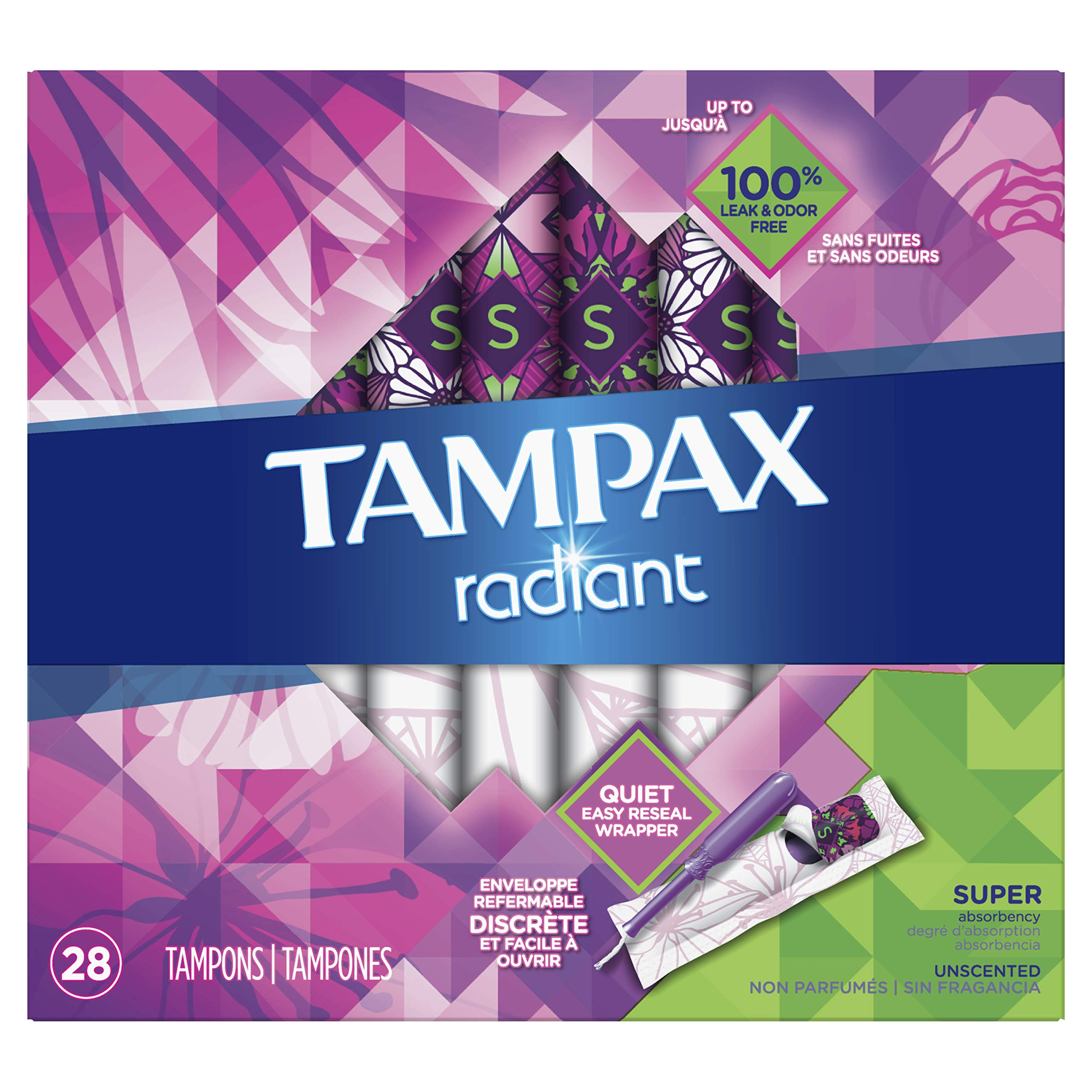 Tampax Radiant Plastic Tampons, Super Absorbency, Unscented, 28 Count, Pack of 6 (Packaging May Vary) by Tampax