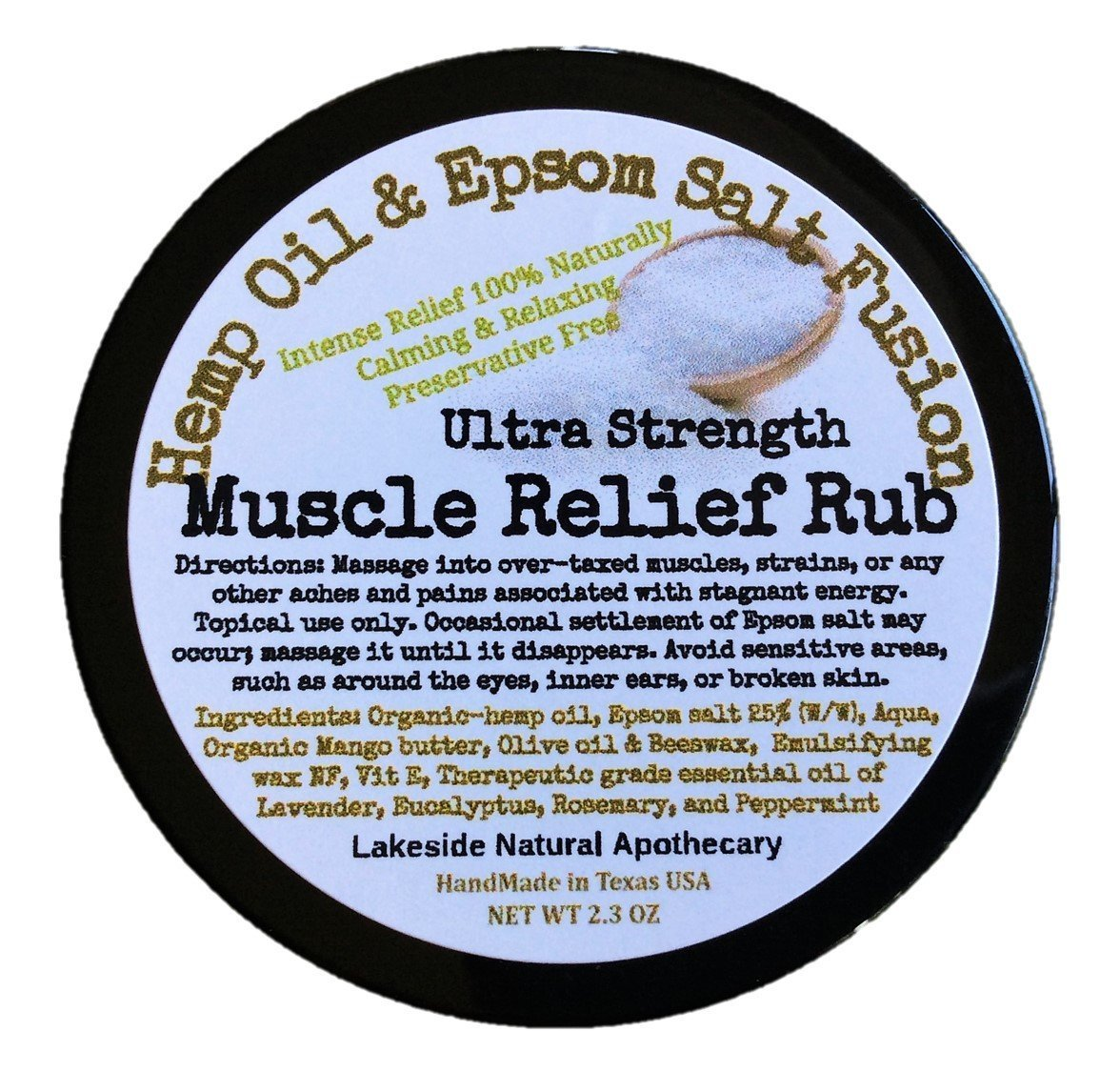 Hemp-Epsom Fusion Epsom Salt & Therapeutic Essential Oil Synergy Massage Lotion Salve Rub in Hemp Oil for Muscle Ache & Pain Relief 100% Natural (2 Jars)