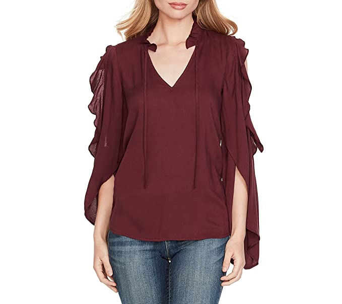 6ec6a51eae8 Jessica Simpson Cold Shoulder Ruffle Sleeve Peasant Top