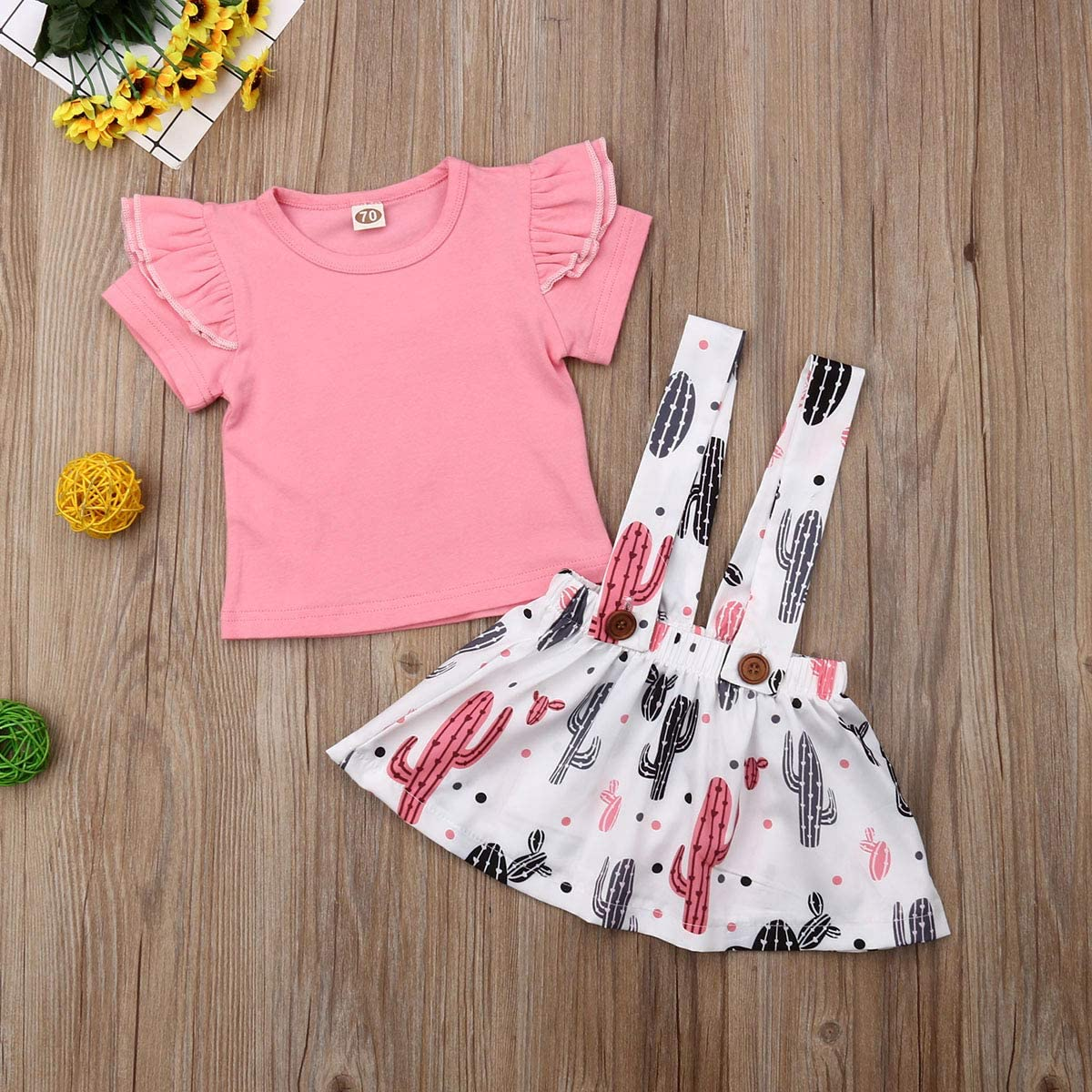 Jimanyang Newborn Infant Baby Girl Short Sleeve Ruffled T-Shirt Cactus Print Suspender Skirt Set 0-24 Months