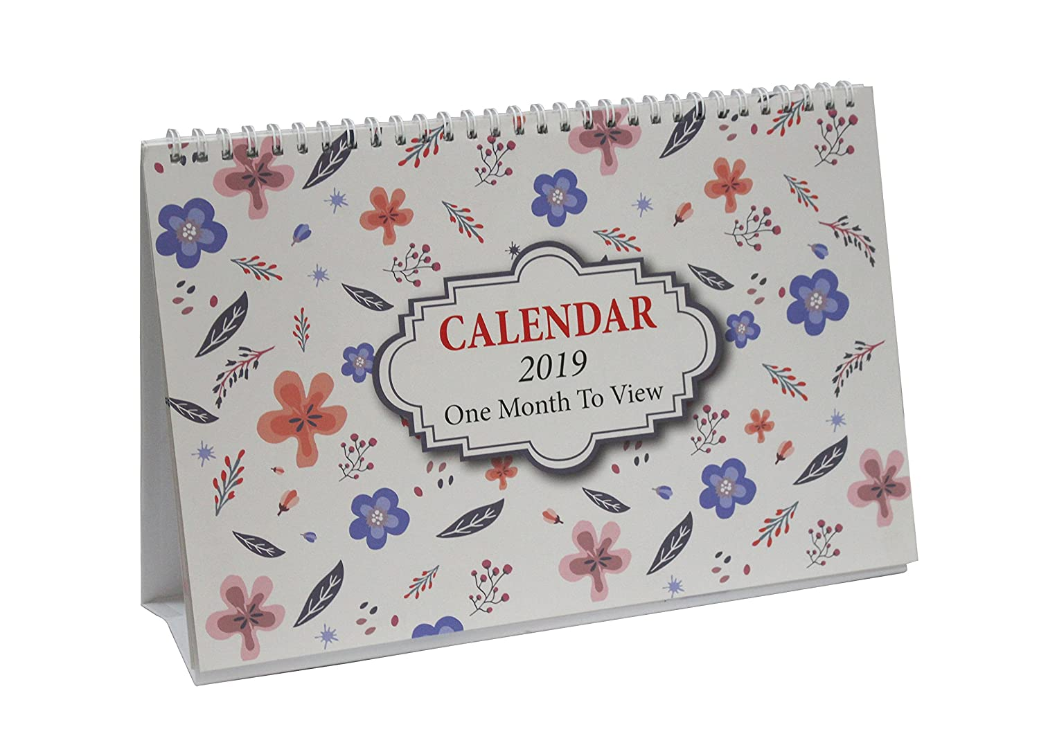 2018-2019 One Month To View UK Stand Alone Desk Office Table Calendar, Academic mid-year or school year planner, Starts 1st -August 2018 runs 'til December 2019,Floral Leaf Design By Arpan