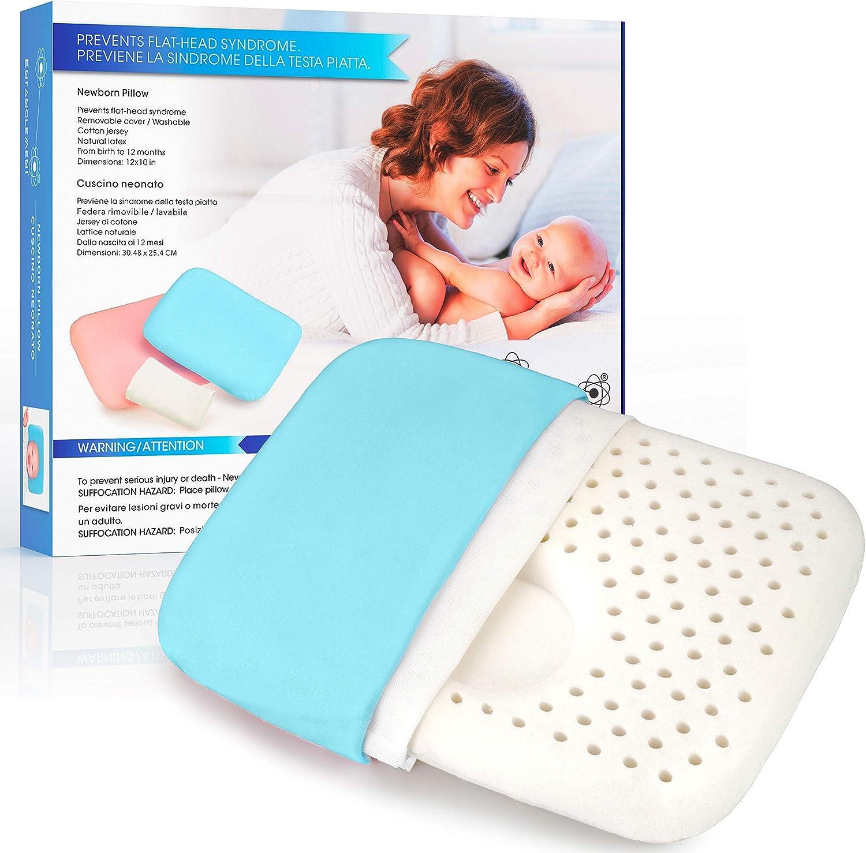 Entanglement® Almohada Bebe plagiocefalia - Latex 100% Natural - para prevenir o Curar la Cabeza Plana - Cojin Infantil para Cuna o Cochecito con Funda de Algodon - antiasfixia (BLU)