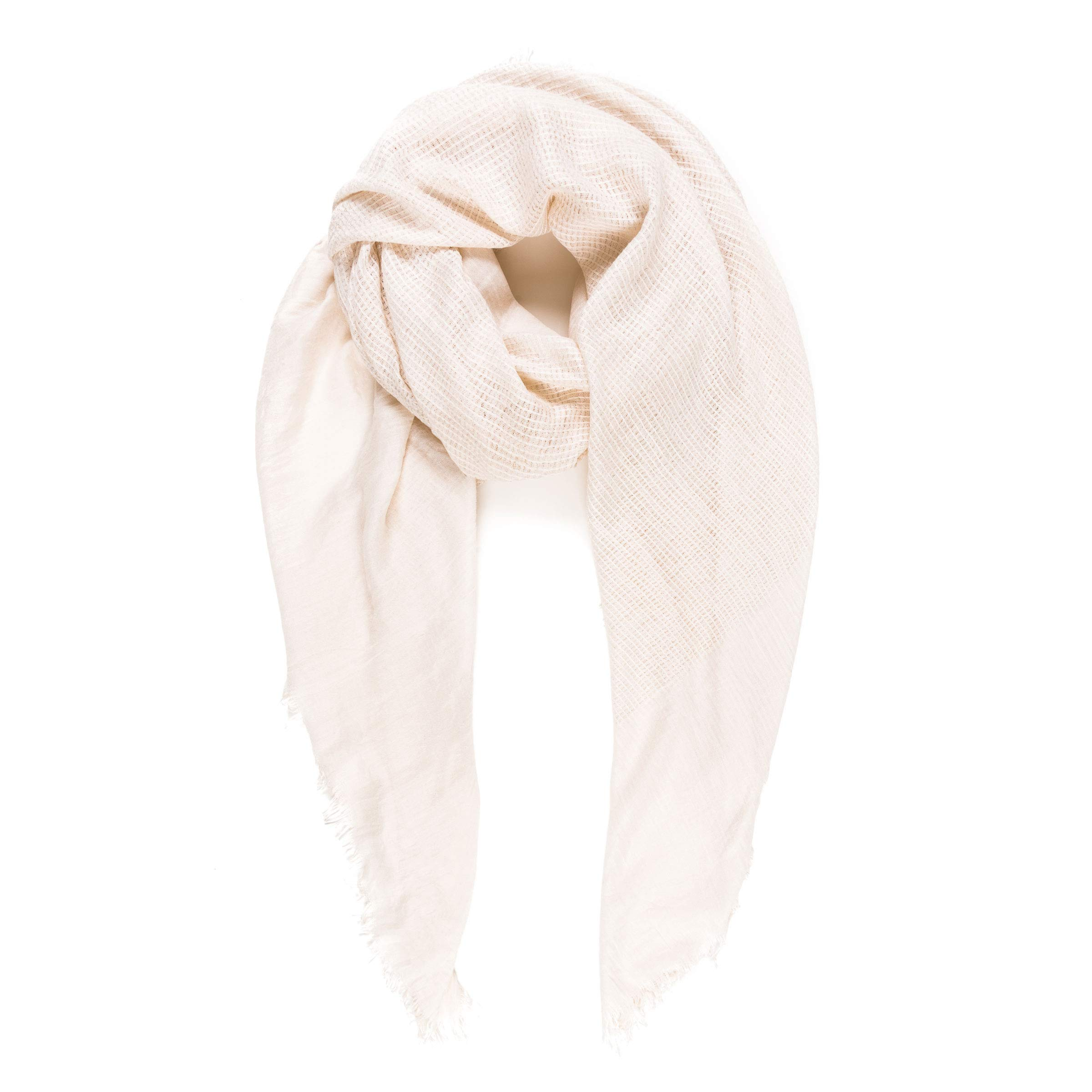 Scarves for Women: Lightweight Elegant Solid colors Fashion Scarf by MIMOSITO (Waffle Textured, Creamy White)