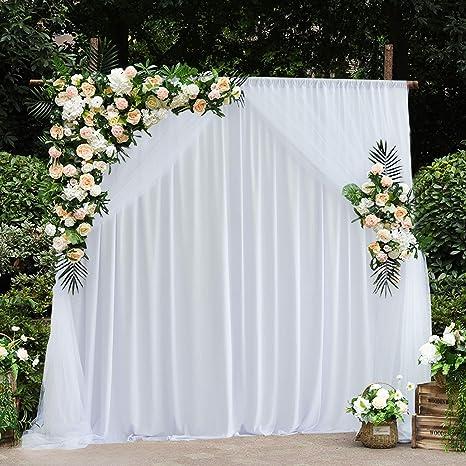 Amazon.com: Cortinas de fondo de tul blanco para bodas, baby ...