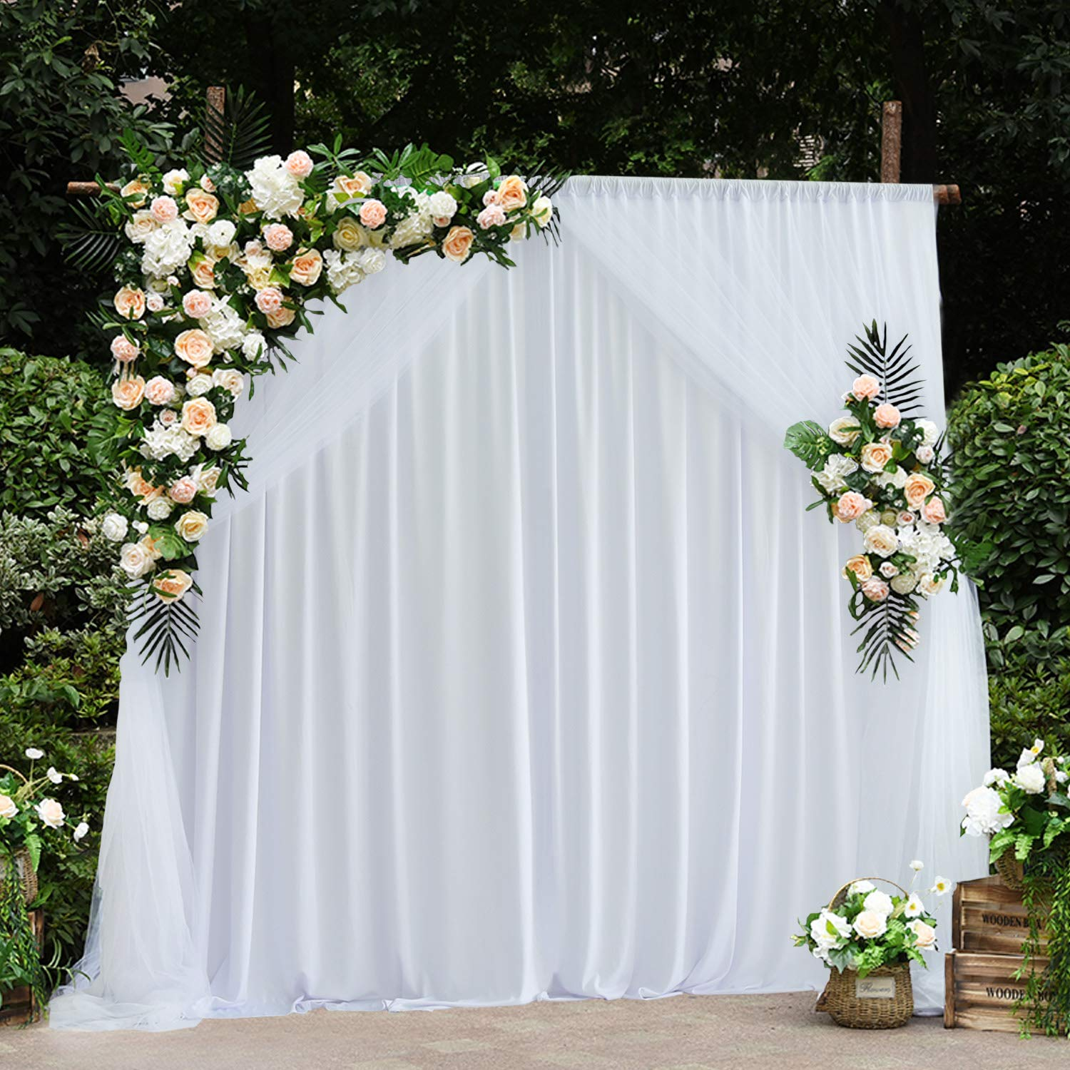 White Tulle Backdrop Curtains for Weddings Baby Shower Birthday Party Bridal Shower Engagement 5x7 Photo Backdrop,Pack of 2