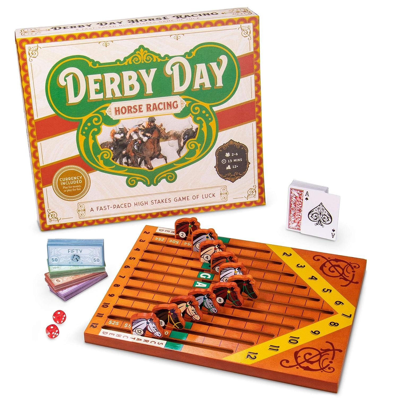 ダービーデイ | 馬のレースボードゲーム | 家族と大人のゲーム パーティーや小銭のギャンブルに最適 | ゲームボード、カードデッキ、サイコロのペア、様々な額の紙幣 B07R8W69F6