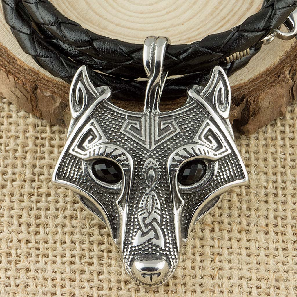 Viking Norse Fenrir Wolf Stainless Steel Pendant With Real Leather Necklace