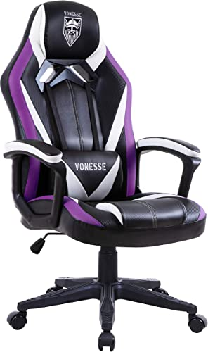 Massage Gaming Chair, Racing Style Computer Chair, Carbon Fibre Modern Home Office Chair, Swivel Gaming Desk Chair, High Back Racing Gaming Chair, E-Sports Gamer Chair Big and Tall Purple