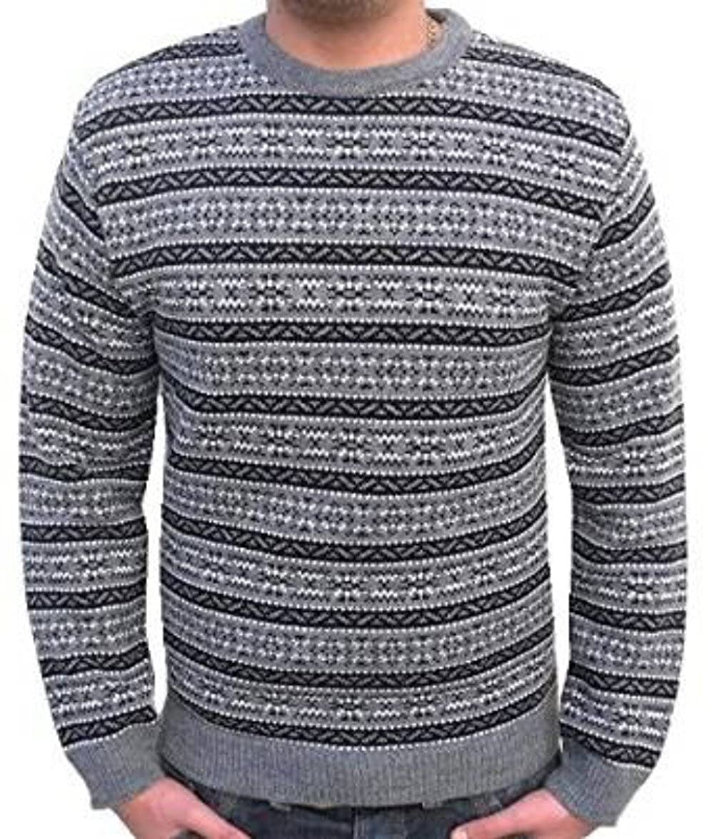 1940s Style Mens Shirts, Sweaters, Vests London Knitwear Gallery Christmas Fairisle Aztec Nordic Vintage Retro Crew Jumper £16.99 AT vintagedancer.com