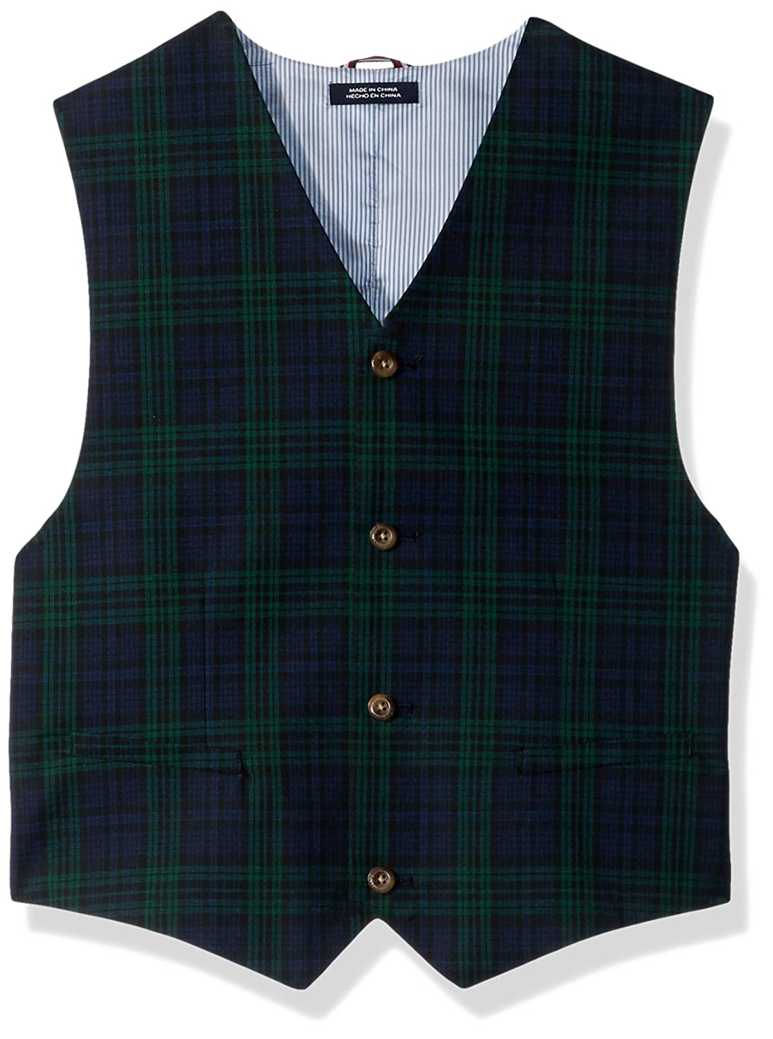 Tommy Hilfiger boys Big Boys Shadow Plaid Vest Dark Green X-Large T823060